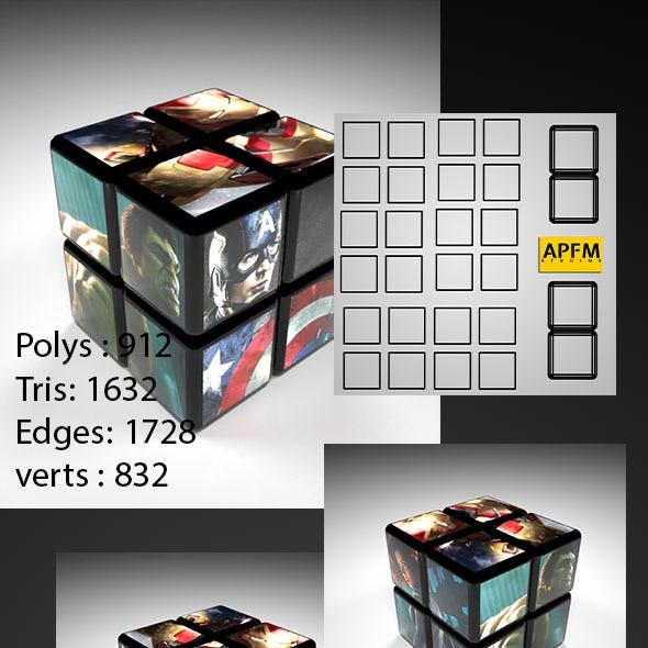 High Quality 2x2 Rubik's Cube Model with UV layout