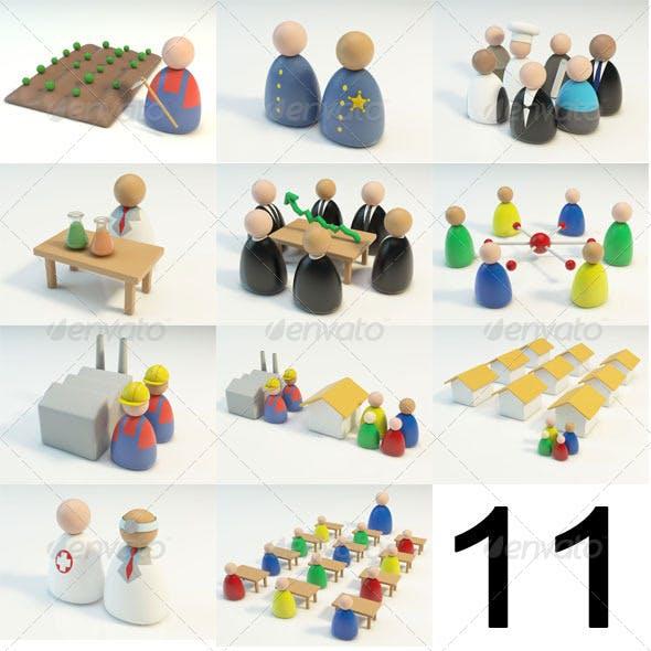11 3D Figures Scenes