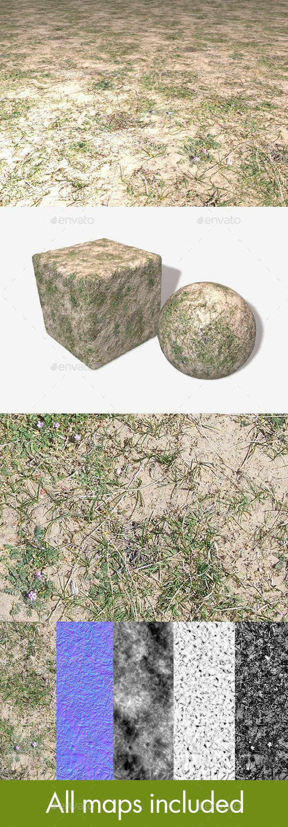 Sand Grass Weeds Seamless Texture - 3DOcean Item for Sale