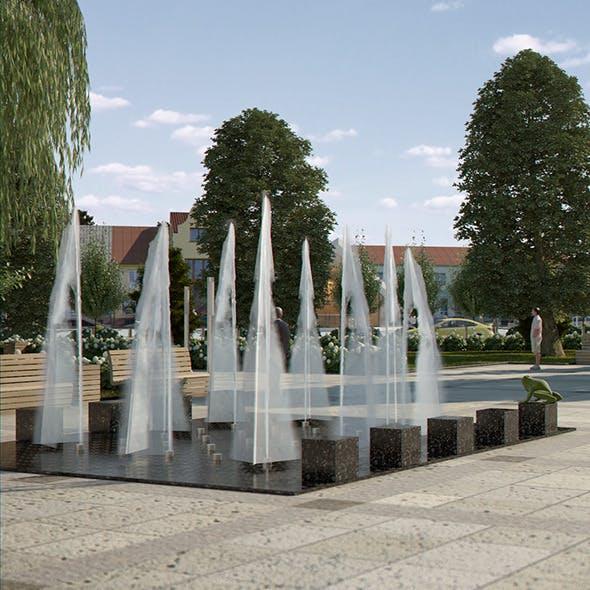 Modern Fountain with Textured Water Splash