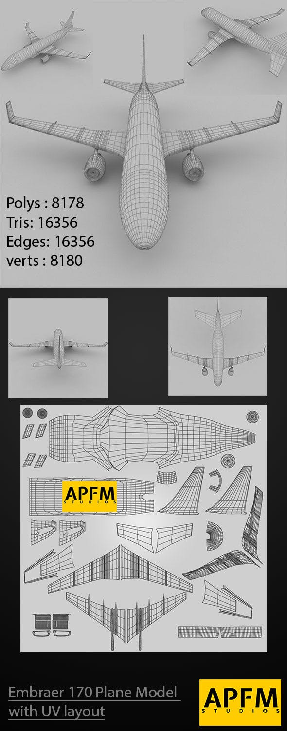 Embraer 170 Plane with UV Layout - 3DOcean Item for Sale