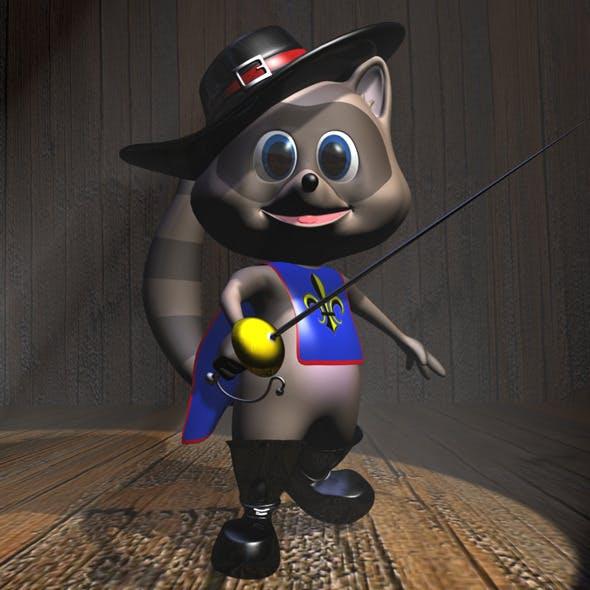 Raccoon Musketeer Cartoon Character Rigged