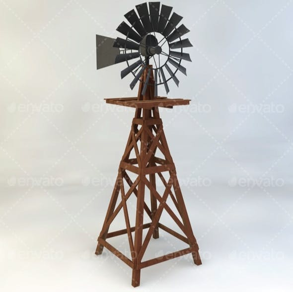 Wooden Windmill Low-Poly - 3DOcean Item for Sale