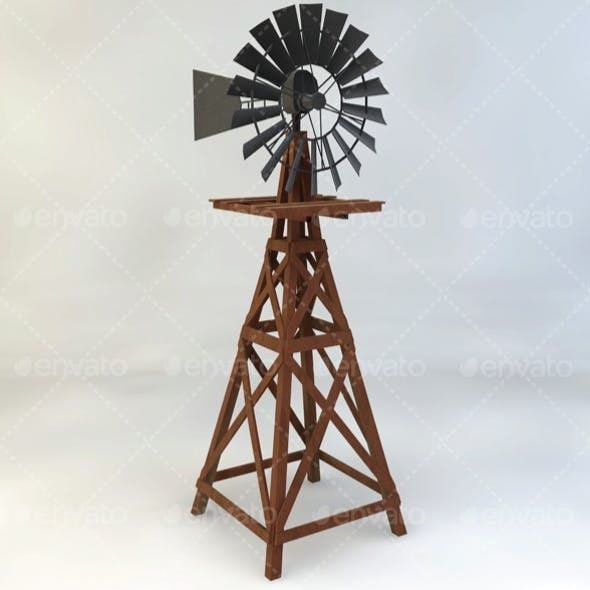 Wooden Windmill Low-Poly