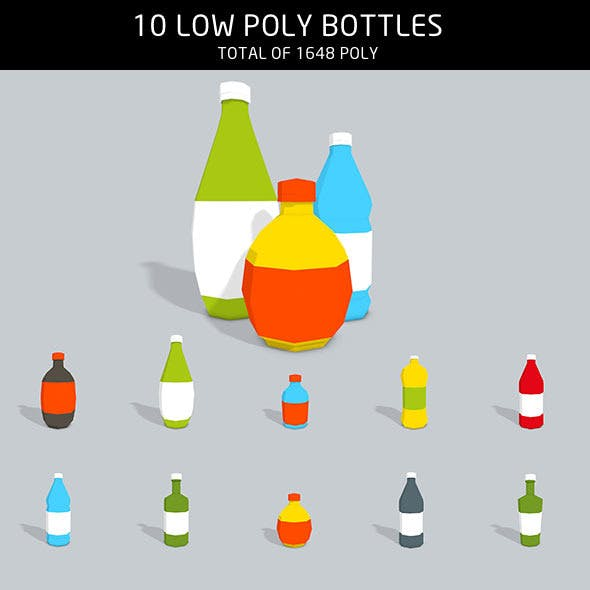 Bottles low poly - 3DOcean Item for Sale