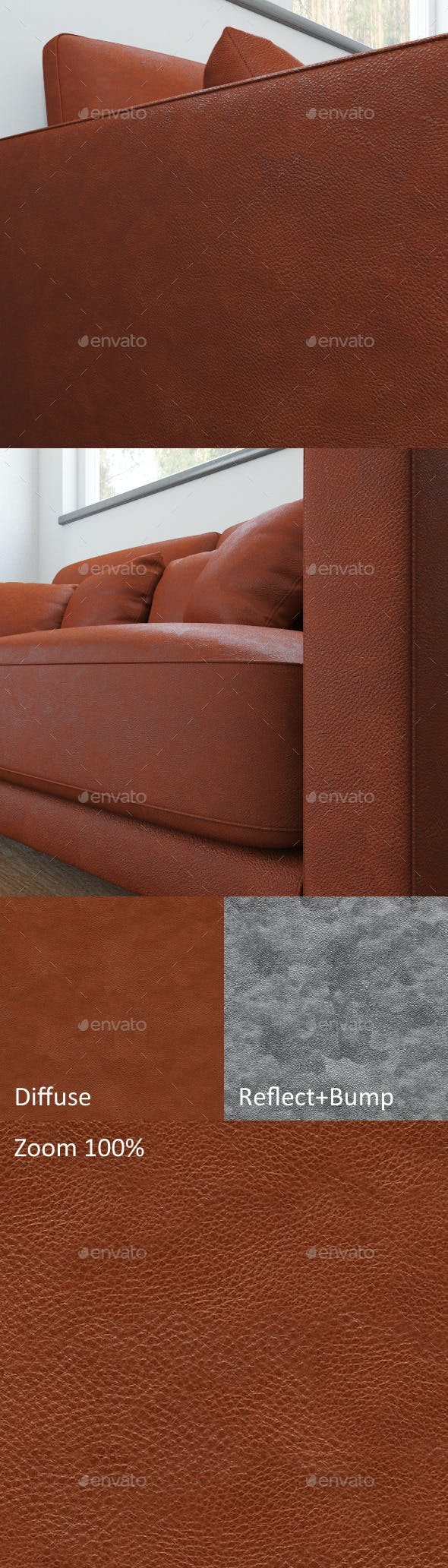 Seamless texture of red leather - 3DOcean Item for Sale