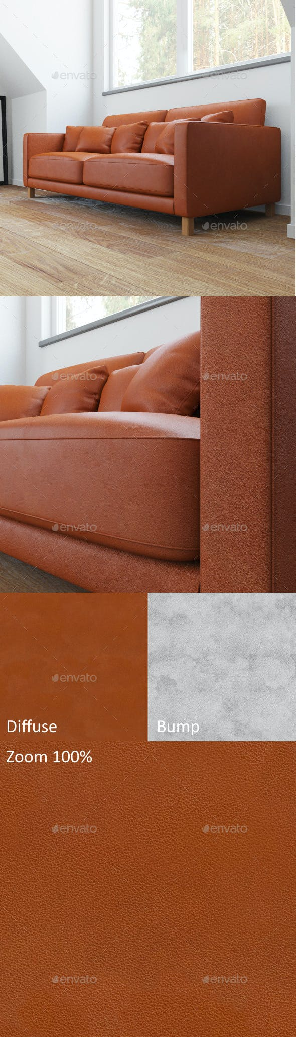Brown seamless leather - 3DOcean Item for Sale