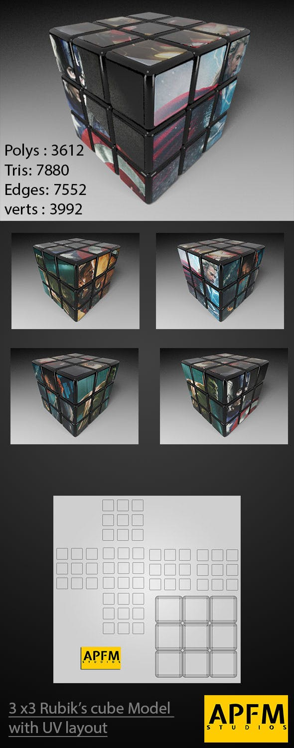 3D High Quality 3x3 Rubik's Cube Model with UV lay - 3DOcean Item for Sale