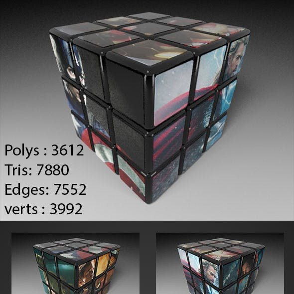 3D High Quality 3x3 Rubik's Cube Model with UV lay