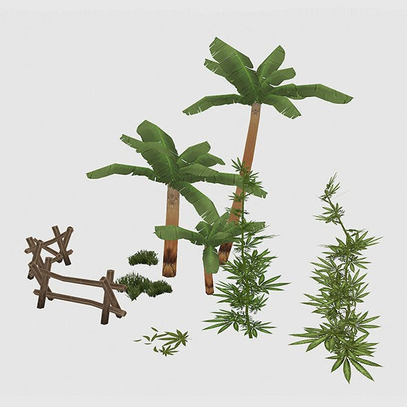 Palms and cannabis set - 3DOcean Item for Sale