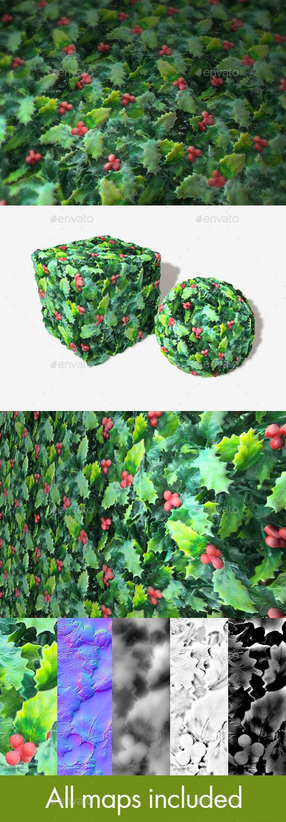 Plastic Holly Seamless Texture - 3DOcean Item for Sale