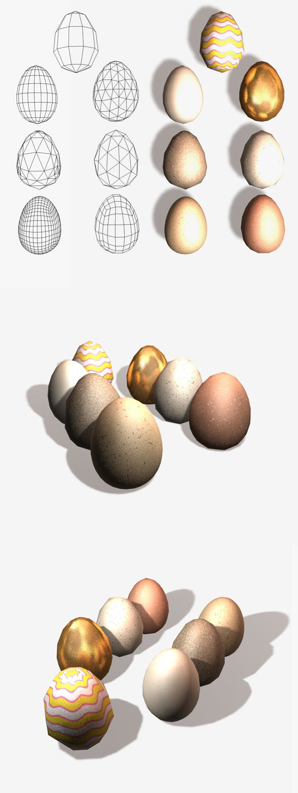 7 Eggs Low and High Poly - 3DOcean Item for Sale