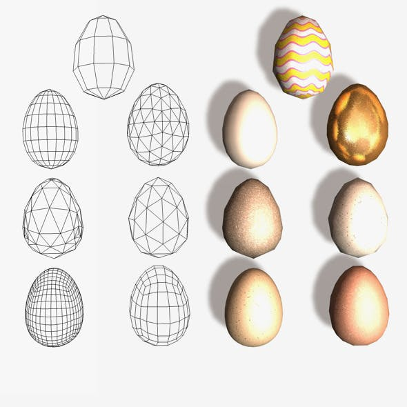 7 Eggs Low and High Poly