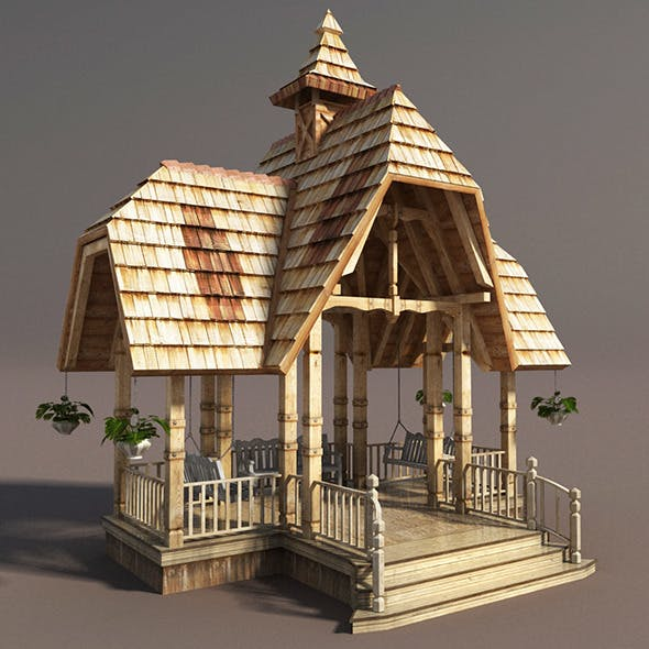 Wooden French Gazebo Low Poly - 3DOcean Item for Sale