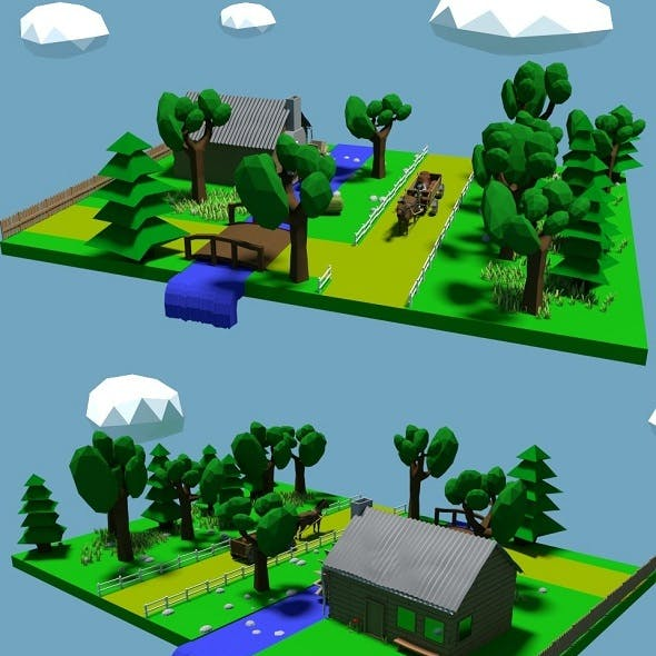 Low Poly River Mill