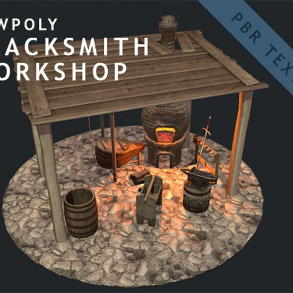 Low Poly Blacksmith Workshop (PBR)