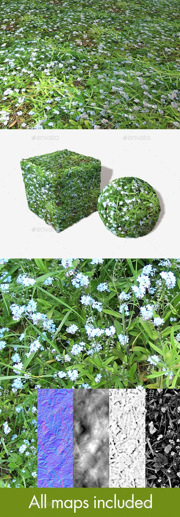 Pale Blue Flowers Seamless Texture - 3DOcean Item for Sale