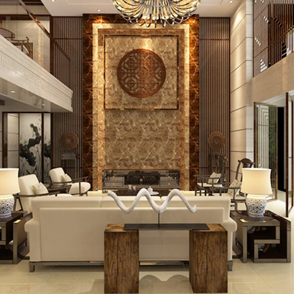 Living room with Modern Chinese style