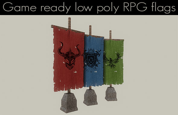 Low Poly RPG Flags - 3DOcean Item for Sale