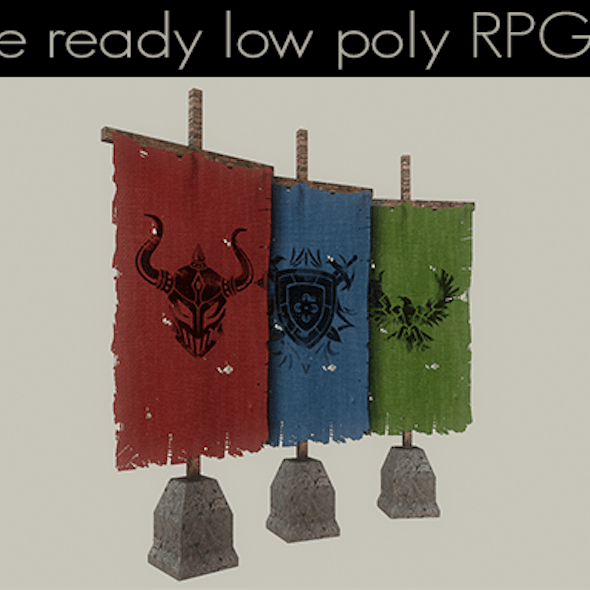 Low Poly RPG Flags