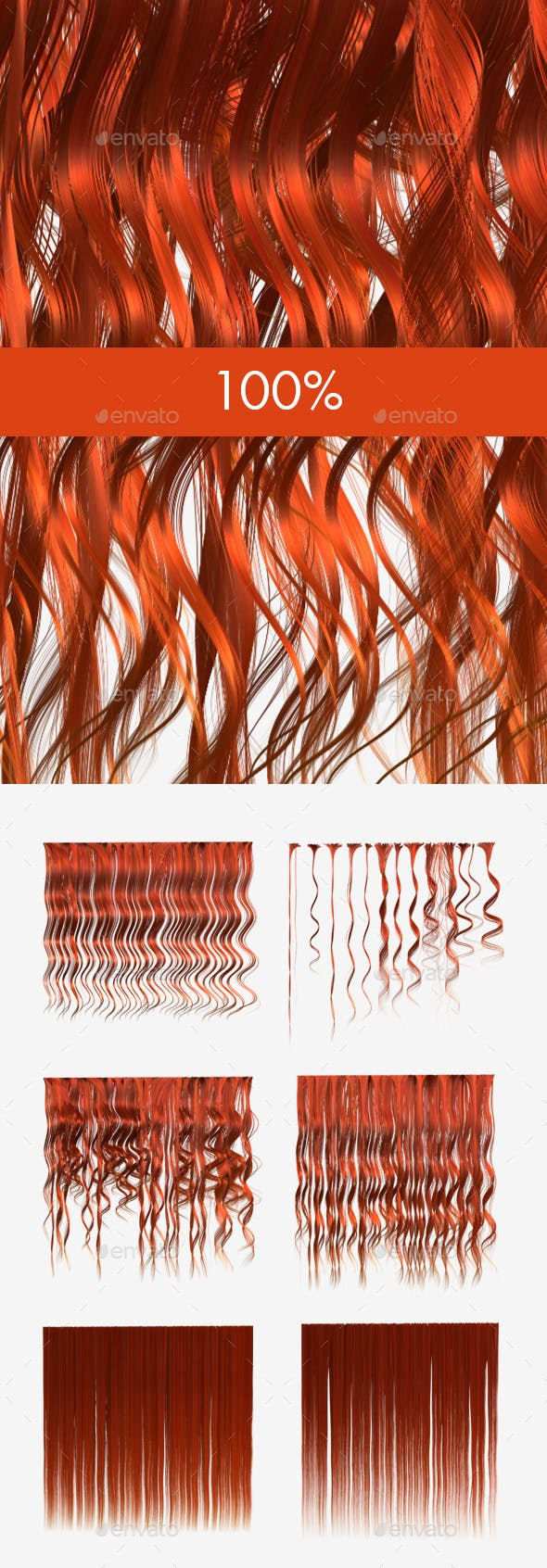 6 Ginger Hair Textures - 3DOcean Item for Sale