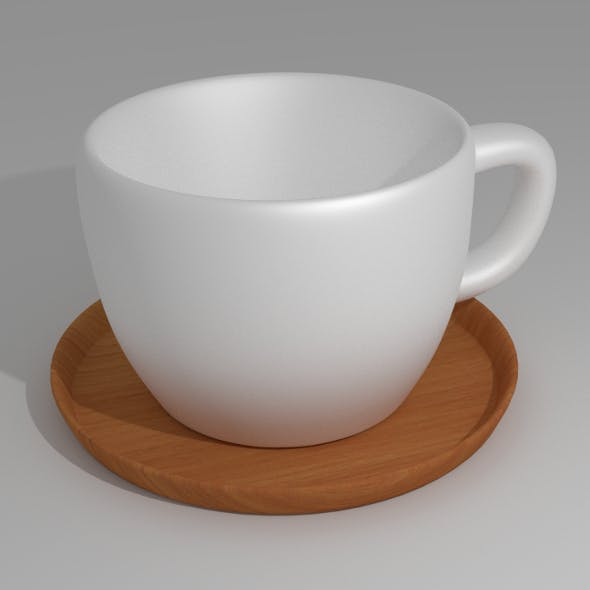 Tea Cup with Wood Plate - 3DOcean Item for Sale