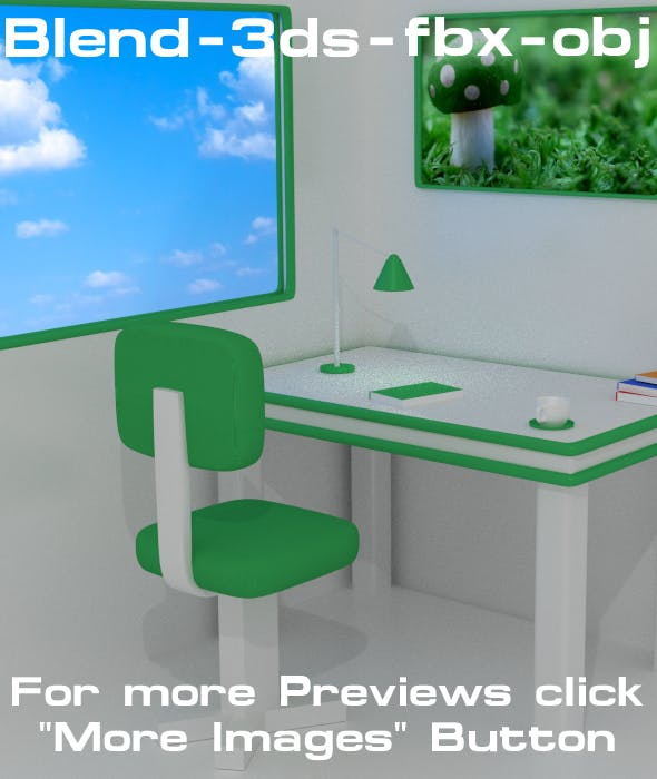 Workspace Design (1) - Green Light - 3DOcean Item for Sale