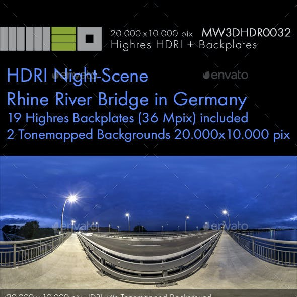 MW3DHDR0032 HDRI Night-Scene Rhine River Bridge