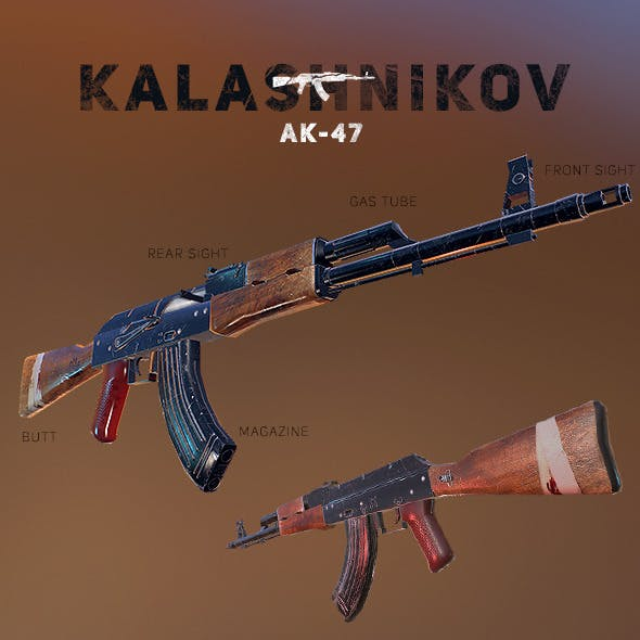 AK-47 Kalashnikov PBR Low-Poly Game Ready - 3DOcean Item for Sale