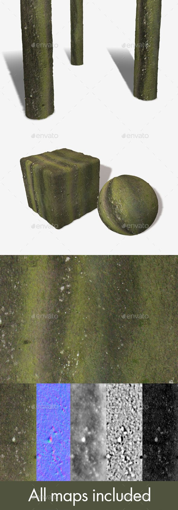 Green Bark Seamless Texture - 3DOcean Item for Sale