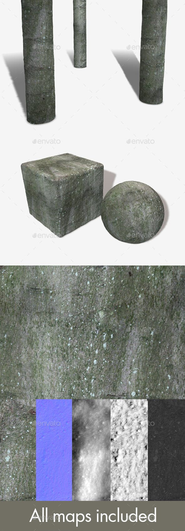 Mossy Bark Seamless Texture - 3DOcean Item for Sale