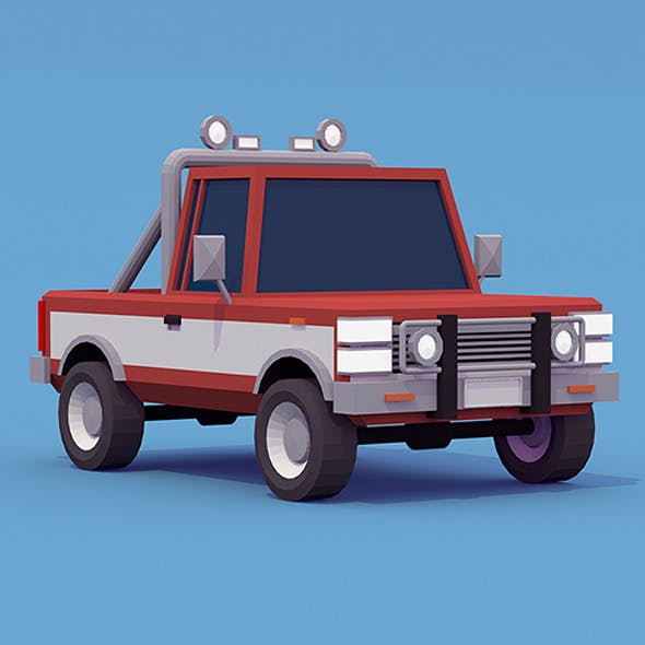 Pickup Truck low-poly - 3DOcean Item for Sale