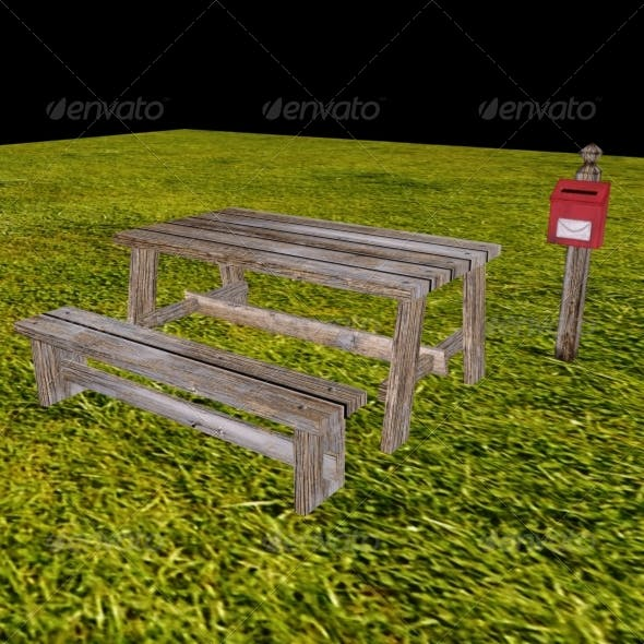 Low Poly Table, Bench and Mailbox