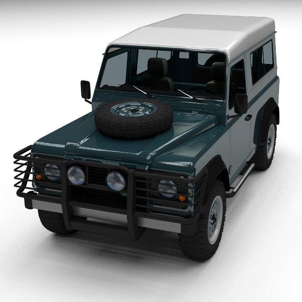 Land Rover Defender 90 Station Wagon w interior - 3DOcean Item for Sale
