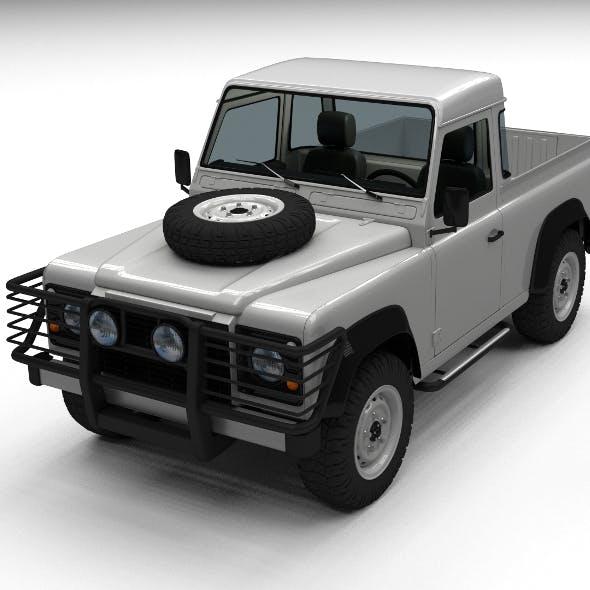 Land Rover Defender 90 Pick Up w interior - 3DOcean Item for Sale