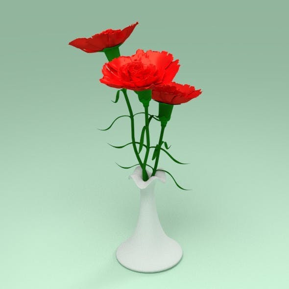 Carnation in a vase - 3DOcean Item for Sale