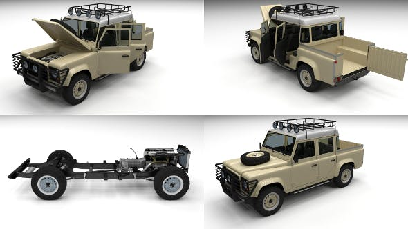 Full Land Rover Defender 110 Double Cab Pick Up - 3DOcean Item for Sale