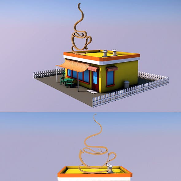 Low Poly Coffee Shop (Ready to Render)