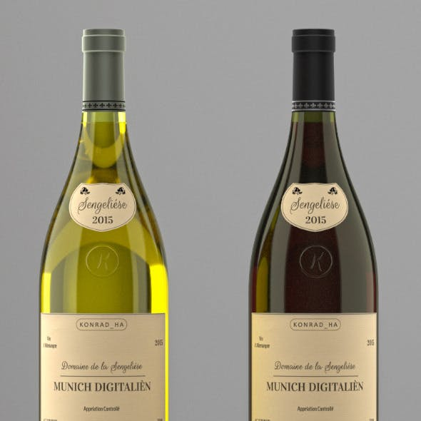 Photoreal Wine Bottles (low shoulder)
