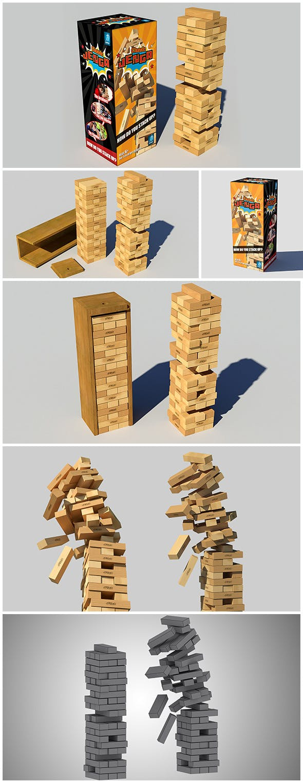 Jenga Classic Game 3d model - 3DOcean Item for Sale