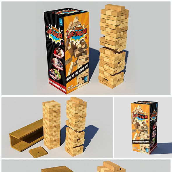 Jenga Classic Game 3d model