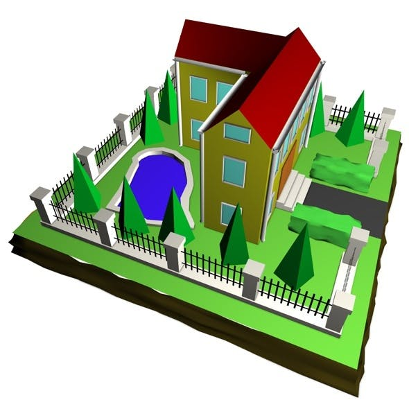 Low Poly 3D House - 3DOcean Item for Sale