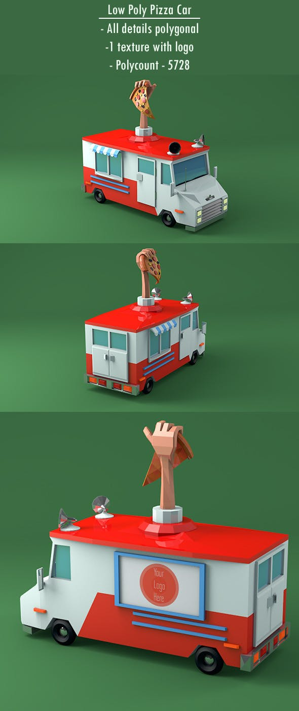 Low Poly Pizza Car - 3DOcean Item for Sale
