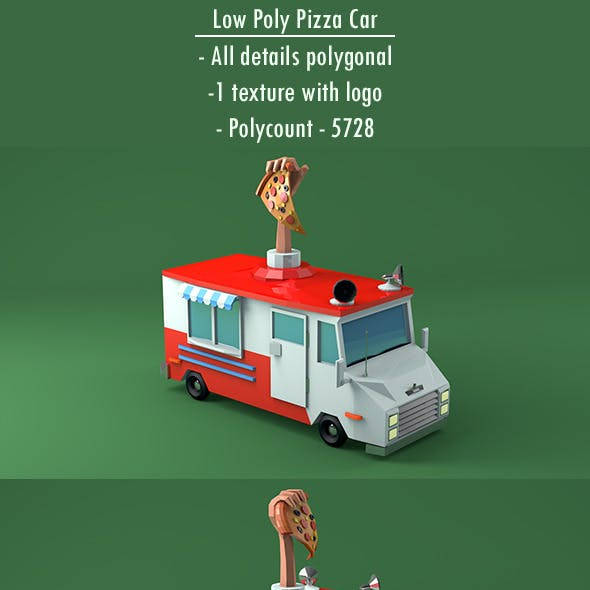 Low Poly Pizza Car