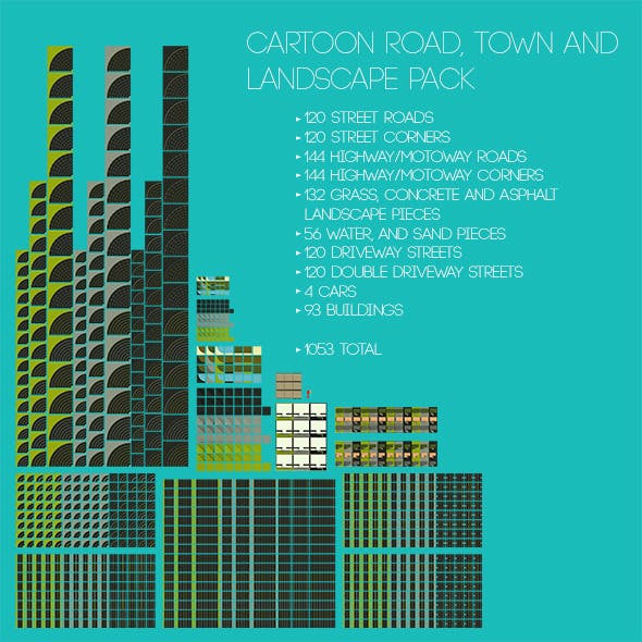 Cartoon Roads, Town and Landscape Pack