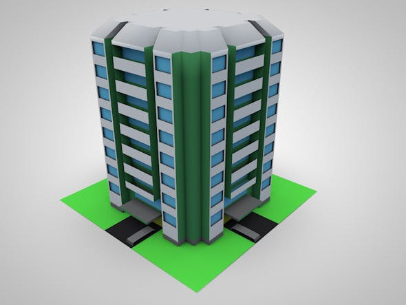 Low Poly 3D Condominium  - 3DOcean Item for Sale