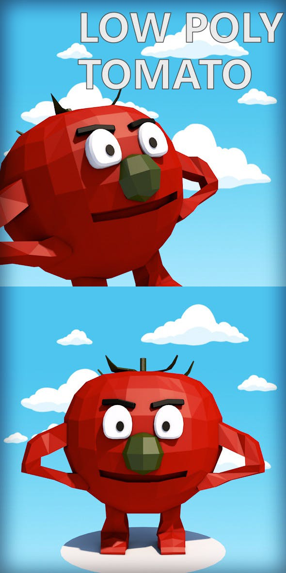 Low poly tomato character - 3DOcean Item for Sale