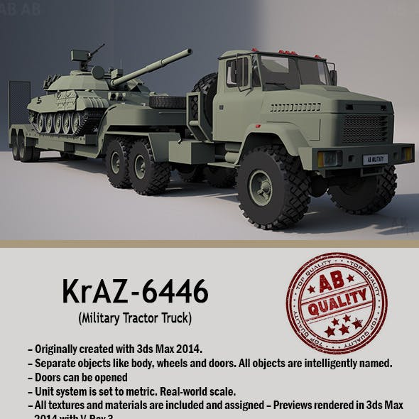 Military Tractor Truck (KrAZ-6446) With Trailer