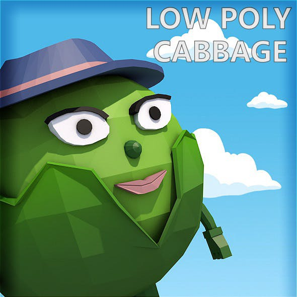 Low poly cabbage character