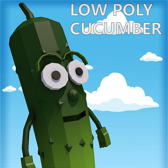 Low poly cucumber character
